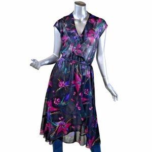 Vintage 60S 70S Women's Medium V-Neck Dress